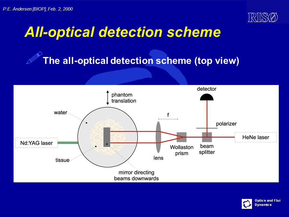 P.E. Andersen [BIOP], Feb. 2, 2000 All-optical detection scheme ! The all-optical detection scheme (top view)
