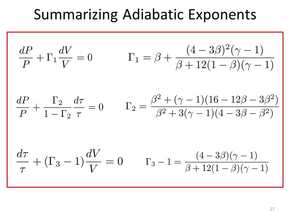Summarizing Adiabatic Exponents 27