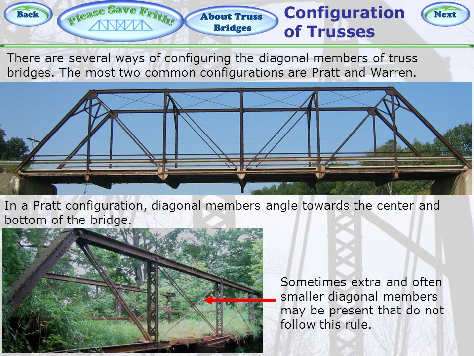 About Truss Bridges - Pratt There are several ways of configuring the diagonal members of truss bridges.
