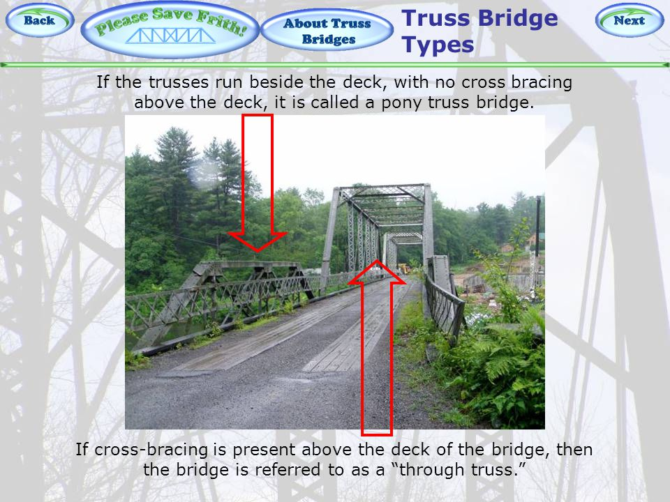 About Truss Bridges – Pony vs Through If the trusses run beside the deck, with no cross bracing above the deck, it is called a pony truss bridge.