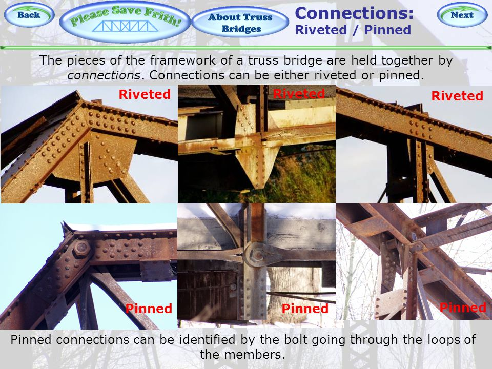 About Truss Bridges - Connections The pieces of the framework of a truss bridge are held together by connections.