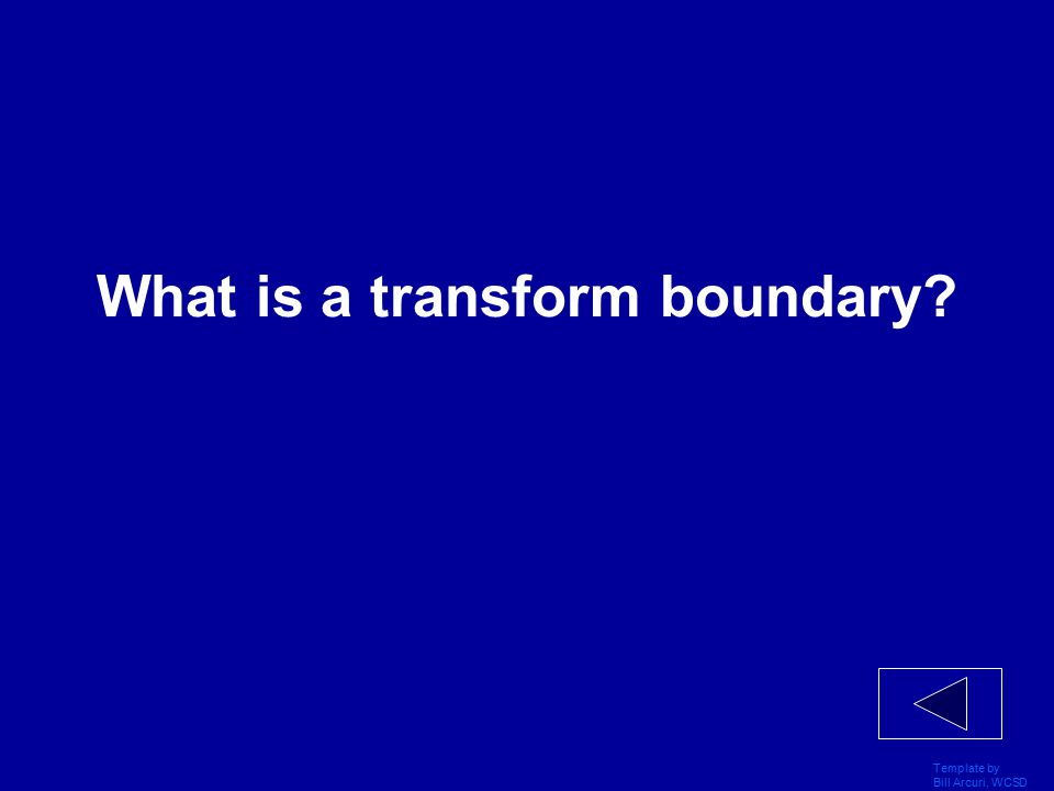 Template by Bill Arcuri, WCSD Vocabulary 400 The boundary where two plates scrape past each other.