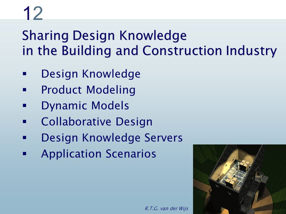 1212 Sharing Design Knowledge in the Building and Construction Industry  Design Knowledge  Product Modeling  Dynamic Models  Collaborative Design  Design Knowledge Servers  Application Scenarios R.T.G.
