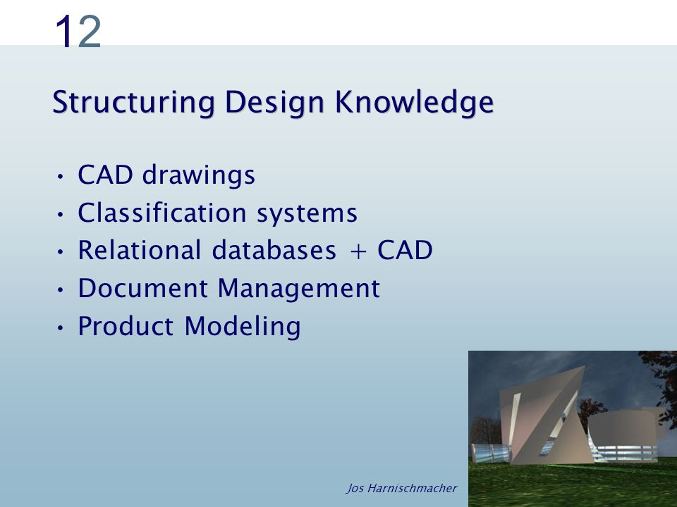 1212 Structuring Design Knowledge CAD drawings Classification systems Relational databases + CAD Document Management Product Modeling Jos Harnischmacher