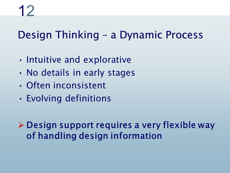1212 Design Thinking – a Dynamic Process Intuitive and explorative No details in early stages Often inconsistent Evolving definitions  Design support requires a very flexible way of handling design information