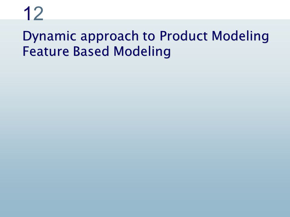 Classical approach to Product Modeling Dynamic approach to Product Modeling Feature Based Modeling 1212