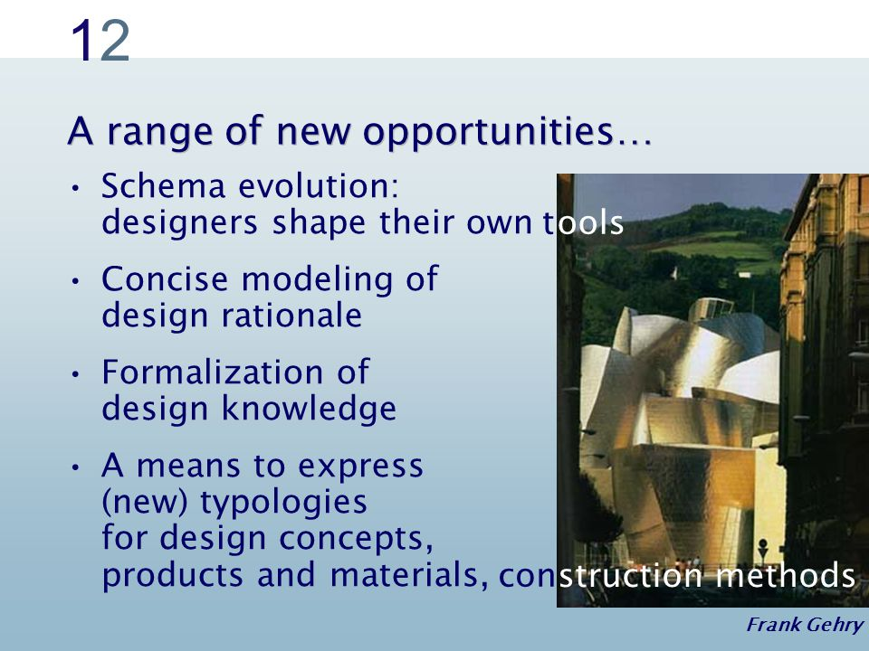 1212 Schema evolution: designers shape their own Concise modeling of design rationale Formalization of design knowledge A means to express (new) typologies for design concepts, products and materials, A range of new opportunities… Frank Gehry con struction methods tools