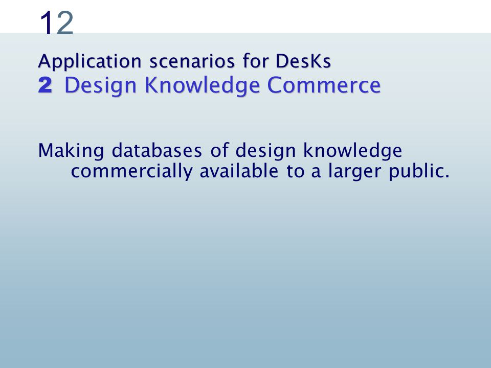 1212 Application scenarios for DesKs Design Knowledge Commerce 2 Making databases of design knowledge commercially available to a larger public.