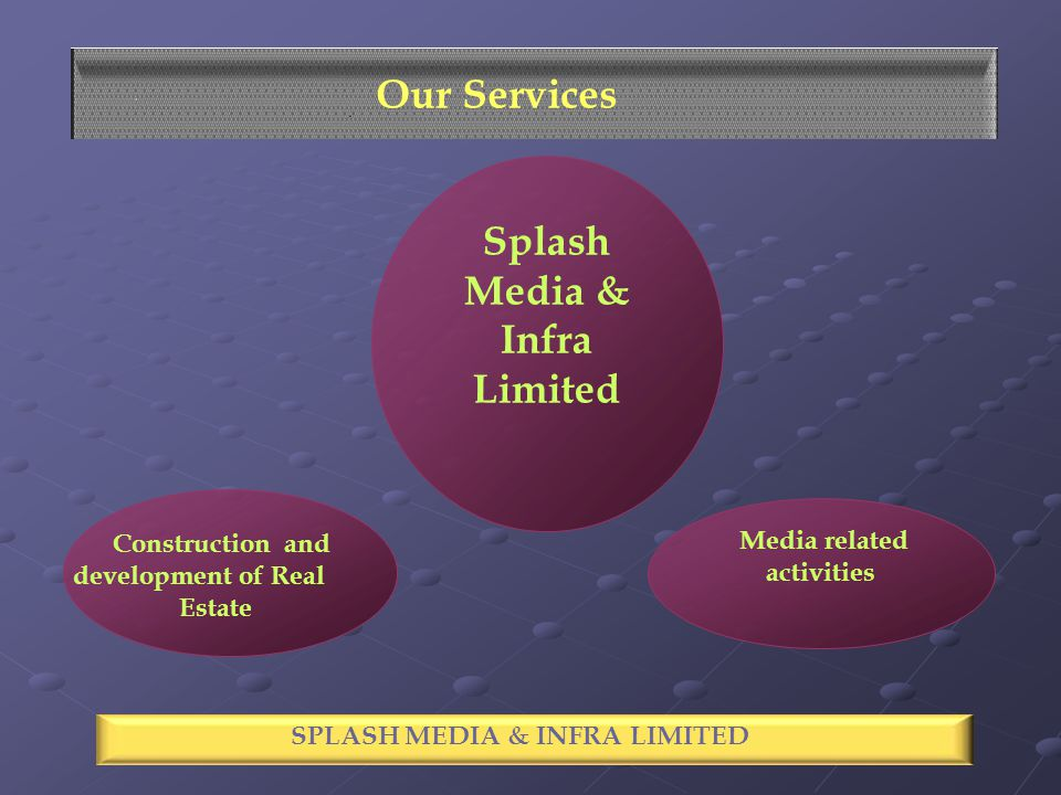 Splash Media & Infra Limited Construction and development of Real Estate SPECTACLE INDUSTRIES LIMITED Our Services SPLASH MEDIA & INFRA LIMITED Media related activities