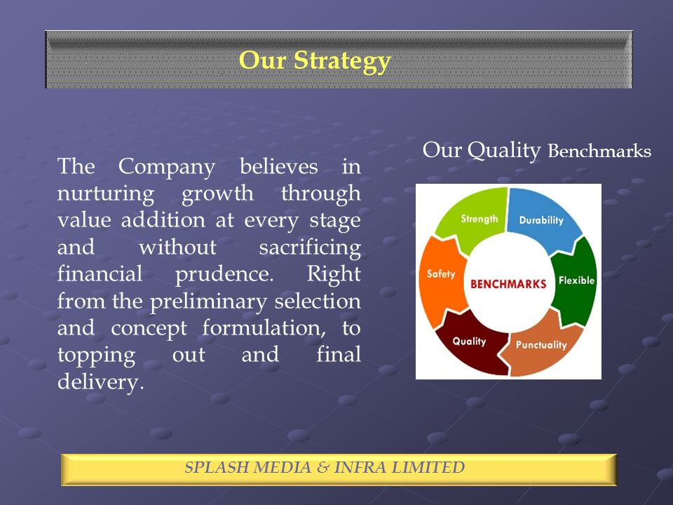 SPECTACLE INDUSTRIES LIMITED Our Strategy SPLASH MEDIA & INFRA LIMITED The Company believes in nurturing growth through value addition at every stage and without sacrificing financial prudence.