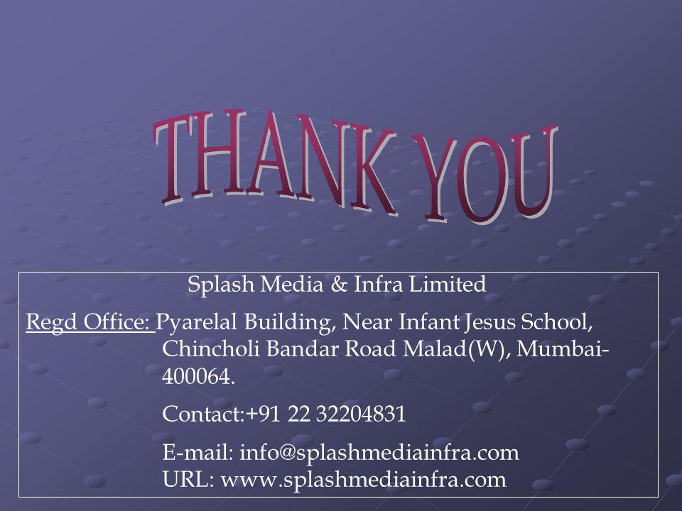 Splash Media & Infra Limited Regd Office: Pyarelal Building, Near Infant Jesus School, Chincholi Bandar Road Malad(W), Mumbai- 400064.