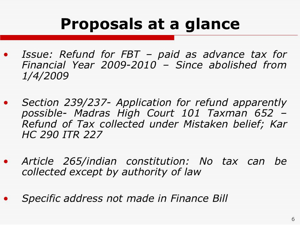 7 Proposals at a glance Personal Income Tax (Individual; HUF AOP; BOI; Artificial Juridical Person) – Basic Tax Exemption Limit (in INR- Lacs) No Surcharge on Personal Income Tax (to be removed in phased manner) (persons covered: Firm and Local Authority also) (AY 2010-2011) AssesseeEarlier (AY 2009-10)Changed (AY 2010-11) Sr Citizen2.252.40 Women1.801.90 Others/individuals/H UF 1.501.60
