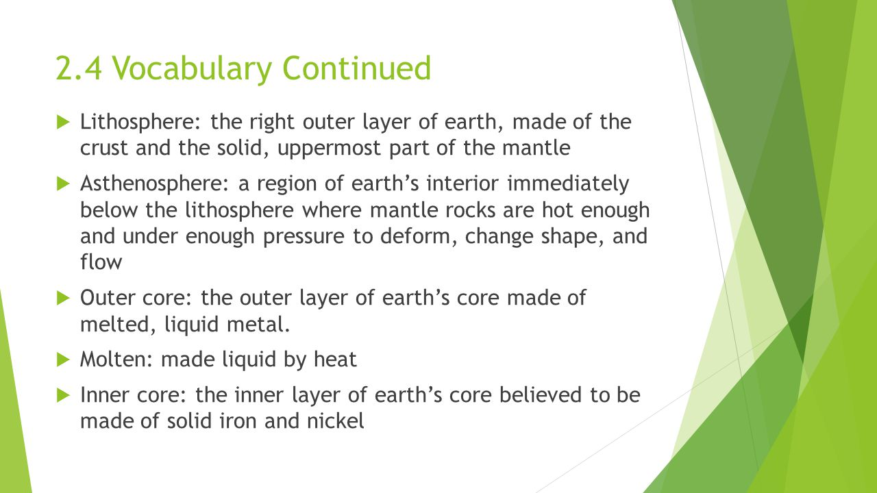 2.4 Vocabulary Continued  Lithosphere: the right outer layer of earth, made of the crust and the solid, uppermost part of the mantle  Asthenosphere: a region of earth's interior immediately below the lithosphere where mantle rocks are hot enough and under enough pressure to deform, change shape, and flow  Outer core: the outer layer of earth's core made of melted, liquid metal.