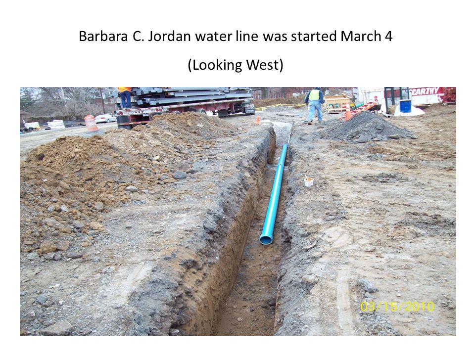 Barbara C. Jordan water line was started March 4 (Looking West)