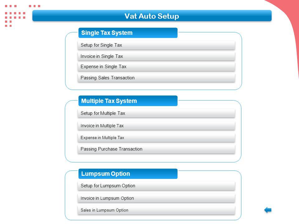 VAT Auto Setup Main Menu Press Enter here for Yes Click VAT Setup for Vat Setup Option VAT Auto Setup