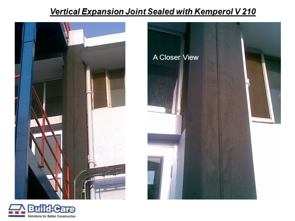 Vertical Expansion Joint Sealed with Kemperol V 210 A Closer View