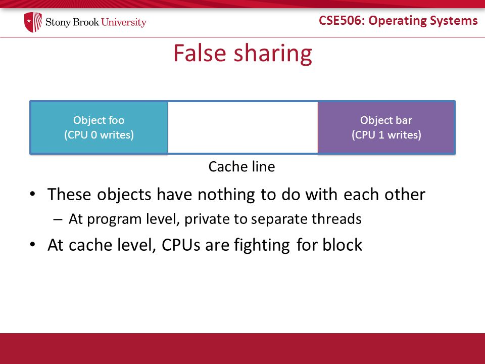 CSE506: Operating Systems Object foo (CPU 0 writes) Object foo (CPU 0 writes) Object bar (CPU 1 writes) Object bar (CPU 1 writes) False sharing These