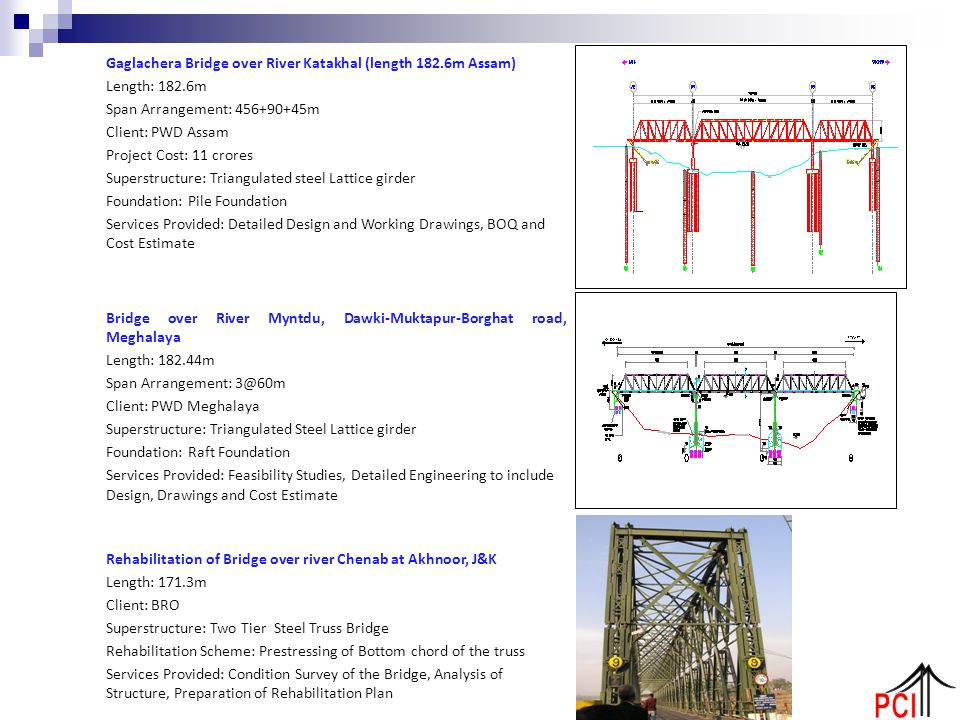 Gaglachera Bridge over River Katakhal (length 182.6m Assam) Length: 182.6m Span Arrangement: 456+90+45m Client: PWD Assam Project Cost: 11 crores Supe