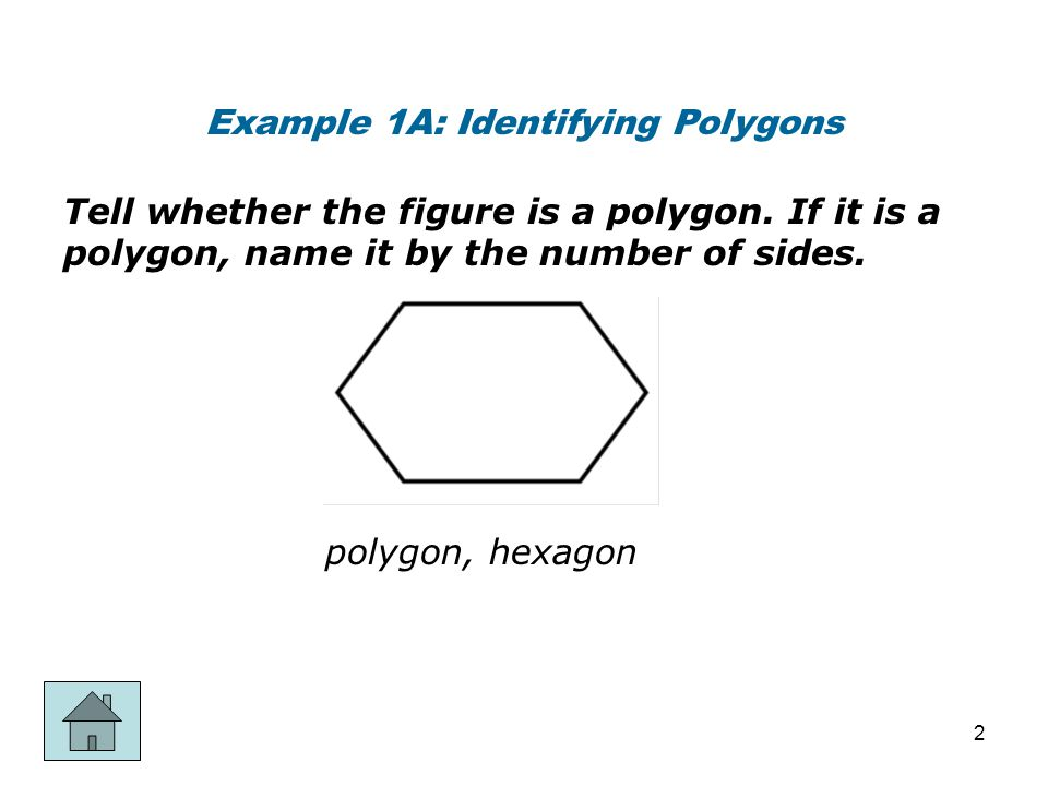 Example 1B: Identifying Polygons Tell whether the figure is a polygon.