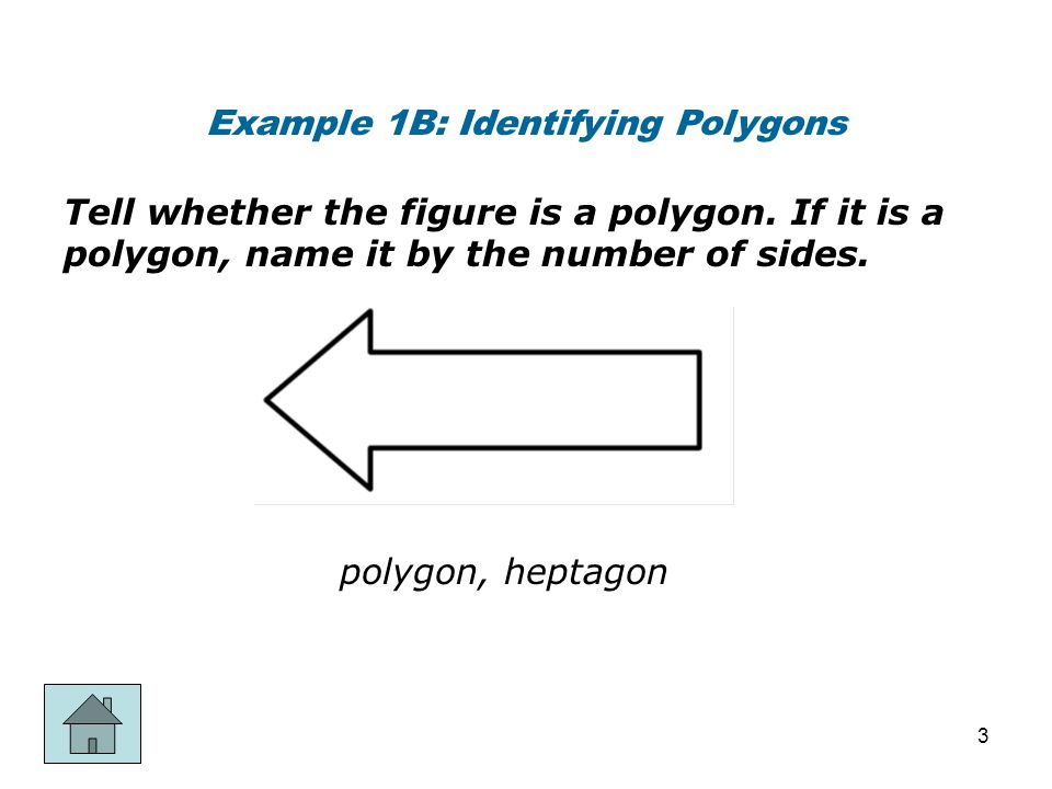 Example 1C: Identifying Polygons Tell whether the figure is a polygon.