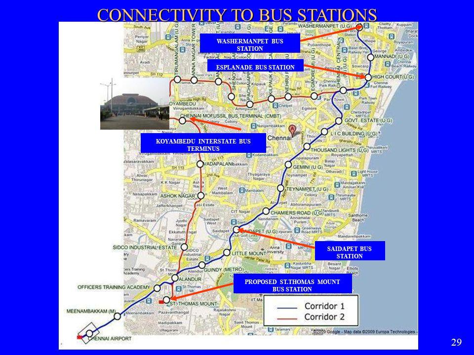 29 CONNECTIVITY TO BUS STATIONS WASHERMANPET BUS STATION ESPLANADE BUS STATION KOYAMBEDU INTERSTATE BUS TERMINUS SAIDAPET BUS STATION PROPOSED ST.THOM