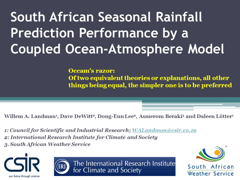South African Seasonal Rainfall Prediction Performance by a Coupled Ocean-Atmosphere Model Willem A.