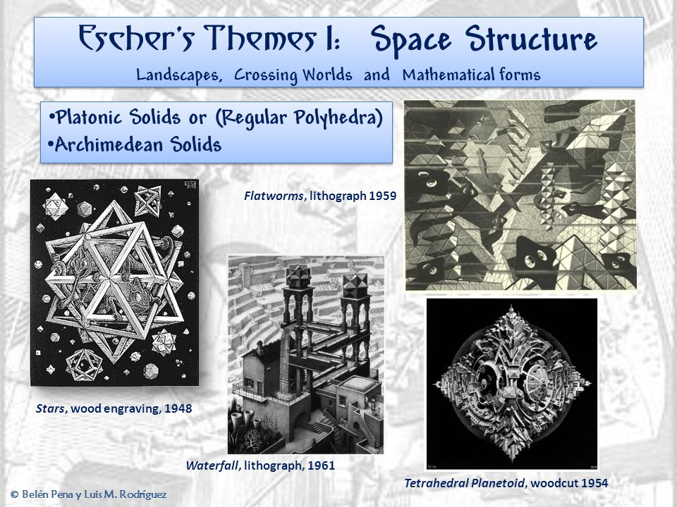 Escher's Themes I: Space Structure Landscapes, Crossing Worlds and Mathematical forms Platonic Solids or (Regular Polyhedra) Archimedean Solids Platon