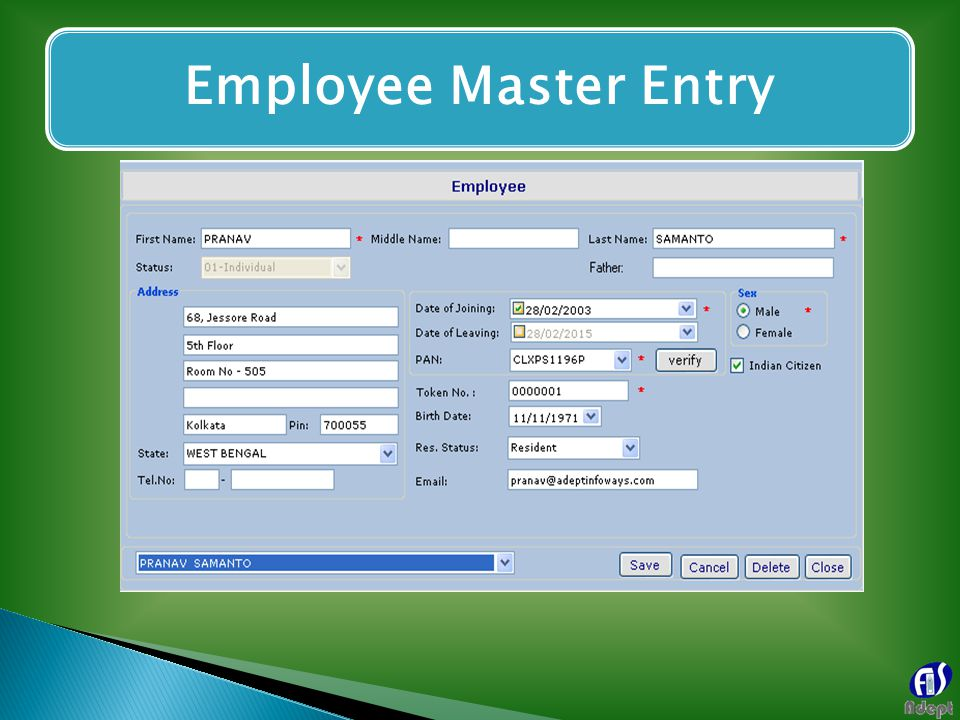 Employee Master Entry