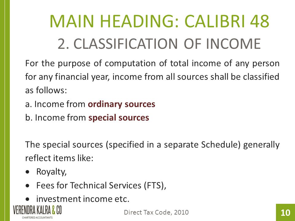 10 MAIN HEADING: CALIBRI 48 2. CLASSIFICATION OF INCOME For the purpose of computation of total income of any person for any financial year, income fr