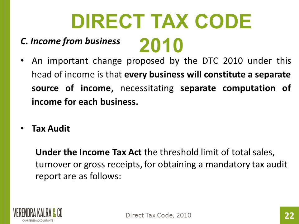 22 DIRECT TAX CODE 2010 C.