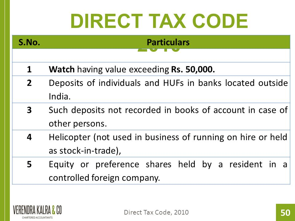 50 DIRECT TAX CODE 2010 Direct Tax Code, 2010 S.No.Particulars 1Watch having value exceeding Rs.