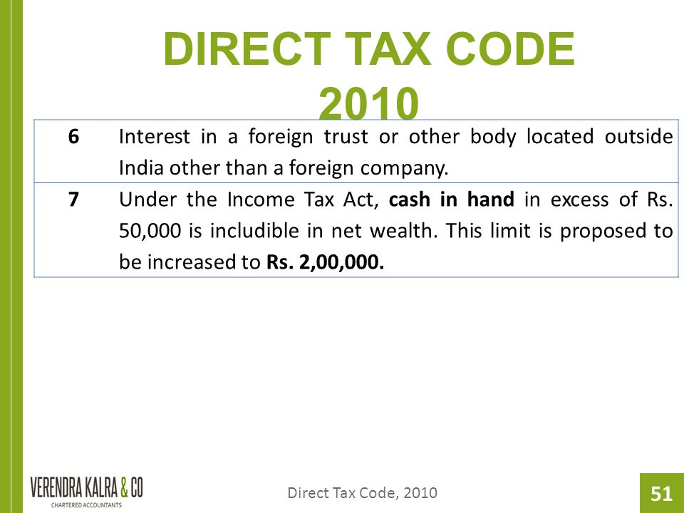 51 DIRECT TAX CODE 2010 Direct Tax Code, 2010 6 Interest in a foreign trust or other body located outside India other than a foreign company.