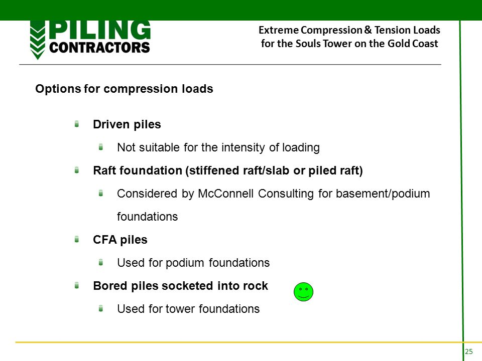 25 Extreme Compression & Tension Loads for the Souls Tower on the Gold Coast Options for compression loads Driven piles Not suitable for the intensity of loading Raft foundation (stiffened raft/slab or piled raft) Considered by McConnell Consulting for basement/podium foundations CFA piles Used for podium foundations Bored piles socketed into rock Used for tower foundations