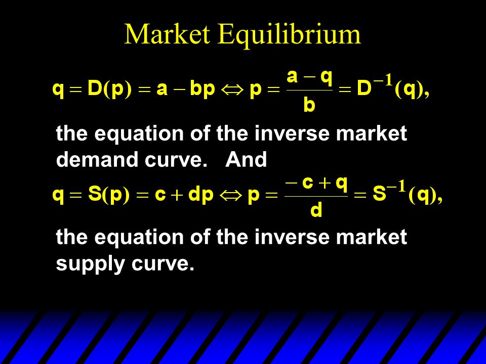 Market Equilibrium the equation of the inverse market demand curve.