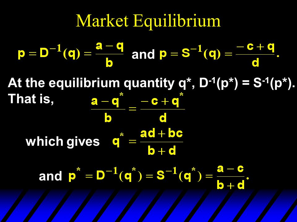 Market Equilibrium and At the equilibrium quantity q*, D -1 (p*) = S -1 (p*).
