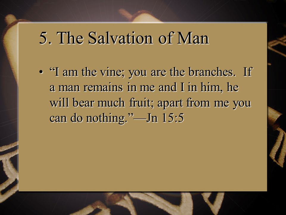 5. The Salvation of Man I am the vine; you are the branches.