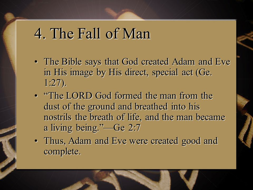 4. The Fall of Man The Bible says that God created Adam and Eve in His image by His direct, special act (Ge. 1:27).The Bible says that God created Ada