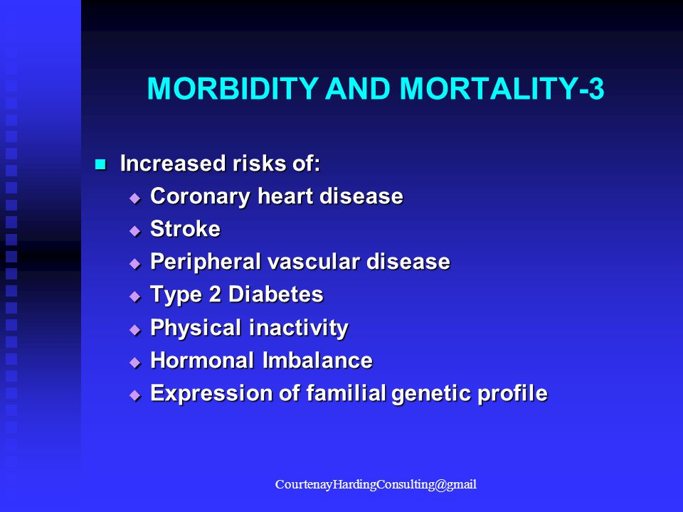MORBIDITY AND MORTALITY-3 Increased risks of: Increased risks of:  Coronary heart disease  Stroke  Peripheral vascular disease  Type 2 Diabetes 