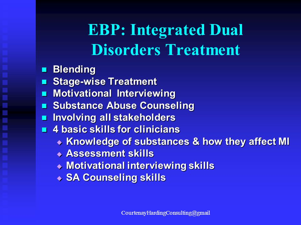 EBP: Integrated Dual Disorders Treatment Blending Blending Stage-wise Treatment Stage-wise Treatment Motivational Interviewing Motivational Interviewi