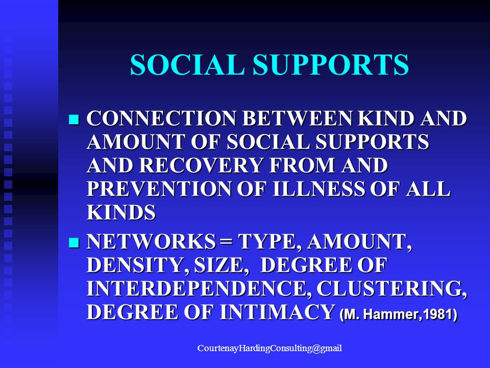 SOCIAL SUPPORTS CONNECTION BETWEEN KIND AND AMOUNT OF SOCIAL SUPPORTS AND RECOVERY FROM AND PREVENTION OF ILLNESS OF ALL KINDS CONNECTION BETWEEN KIND
