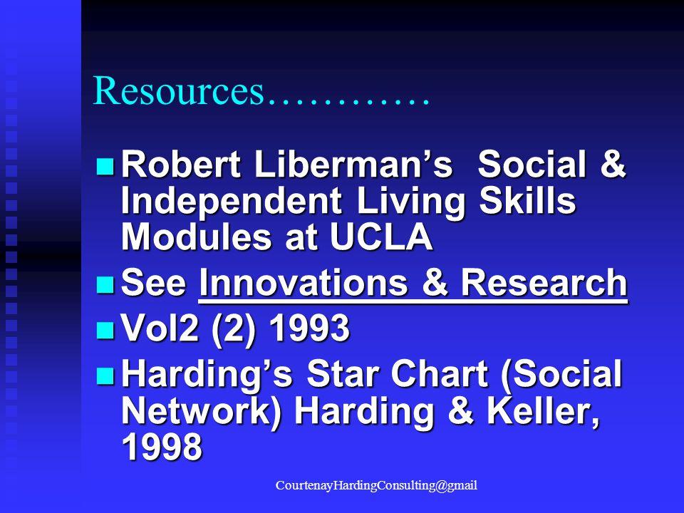 Resources………… Robert Liberman's Social & Independent Living Skills Modules at UCLA Robert Liberman's Social & Independent Living Skills Modules at UCLA See Innovations & Research See Innovations & Research Vol2 (2) 1993 Vol2 (2) 1993 Harding's Star Chart (Social Network) Harding & Keller, 1998 Harding's Star Chart (Social Network) Harding & Keller, 1998 CourtenayHardingConsulting@gmail