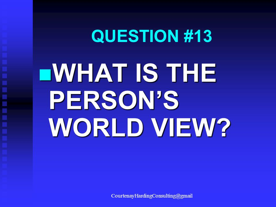 QUESTION #13 WHAT IS THE PERSON'S WORLD VIEW? WHAT IS THE PERSON'S WORLD VIEW? CourtenayHardingConsulting@gmail