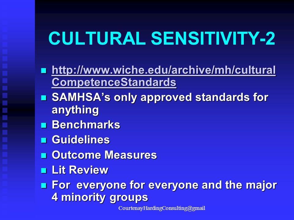 CULTURAL SENSITIVITY-2 http://www.wiche.edu/archive/mh/cultural CompetenceStandards http://www.wiche.edu/archive/mh/cultural CompetenceStandards http://www.wiche.edu/archive/mh/cultural CompetenceStandards http://www.wiche.edu/archive/mh/cultural CompetenceStandards SAMHSA's only approved standards for anything SAMHSA's only approved standards for anything Benchmarks Benchmarks Guidelines Guidelines Outcome Measures Outcome Measures Lit Review Lit Review For everyone for everyone and the major 4 minority groups For everyone for everyone and the major 4 minority groups CourtenayHardingConsulting@gmail