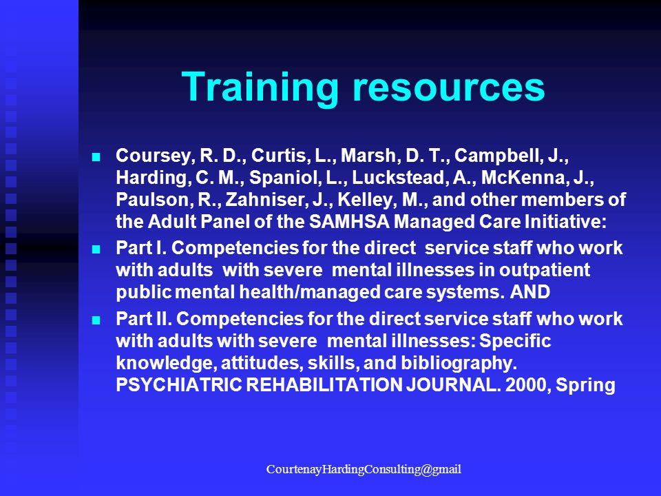 Training resources Coursey, R.D., Curtis, L., Marsh, D.