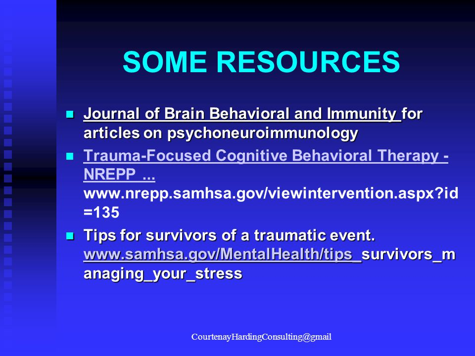 SOME RESOURCES Journal of Brain Behavioral and Immunity for articles on psychoneuroimmunology Journal of Brain Behavioral and Immunity for articles on