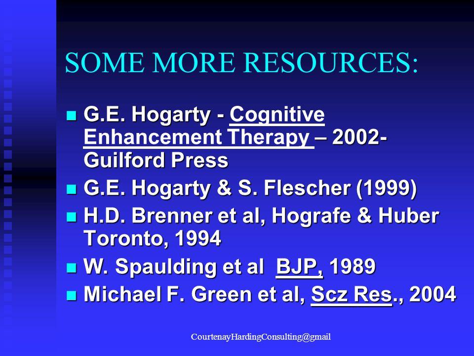 SOME MORE RESOURCES: G.E.Hogarty - – 2002- Guilford Press G.E.