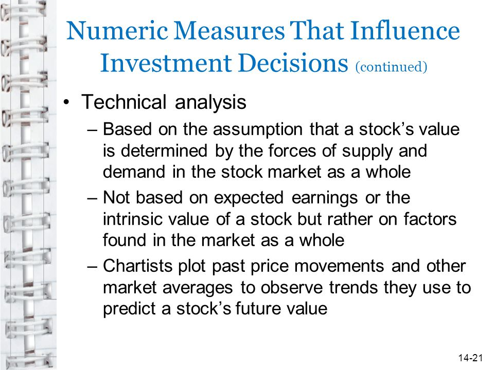 Numeric Measures That Influence Investment Decisions (continued) Technical analysis –Based on the assumption that a stock's value is determined by the forces of supply and demand in the stock market as a whole –Not based on expected earnings or the intrinsic value of a stock but rather on factors found in the market as a whole –Chartists plot past price movements and other market averages to observe trends they use to predict a stock's future value 14-21