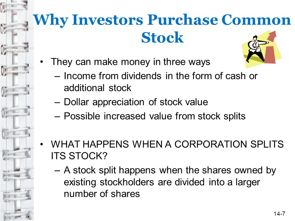 Why Investors Purchase Common Stock They can make money in three ways –Income from dividends in the form of cash or additional stock –Dollar appreciat