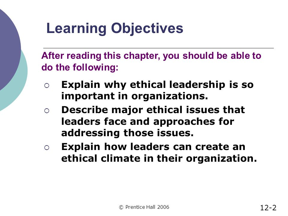 © Prentice Hall 2006 Learning Objectives  Explain why ethical leadership is so important in organizations.