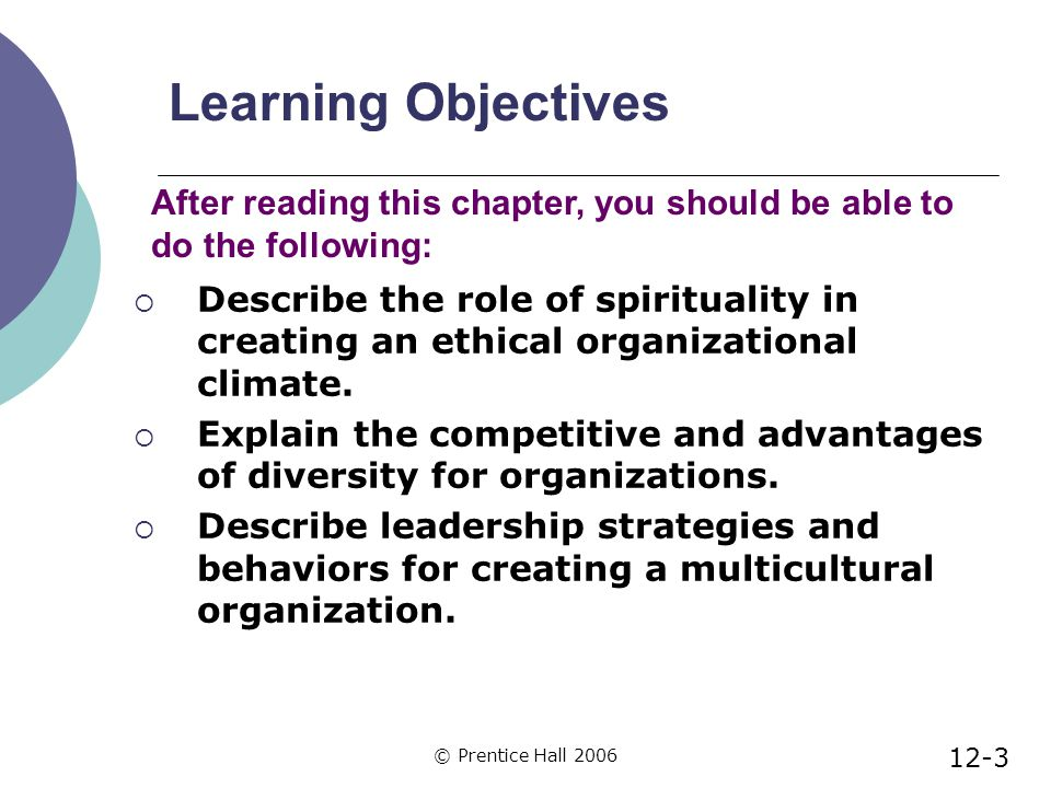 © Prentice Hall 2006 Learning Objectives  Describe the role of spirituality in creating an ethical organizational climate.
